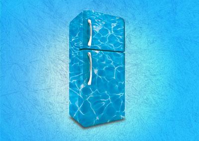 Visuel du réfrigérateur utilisée pour la campagne promotionnelle de l'été de l'espace aquatique albigeois Atlantis