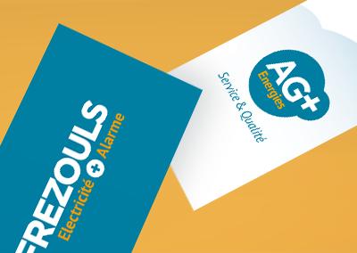 Cartes de visite et logos de l'entreprise AG+ énergies frezouls à Albi.