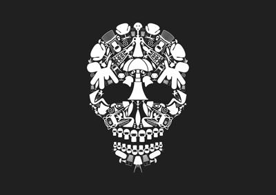 Illustration d'une affiche représentant un crâne pour la boutique d'objets design Tryptik d'Albi